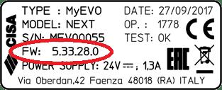 versione firmware MyEVO